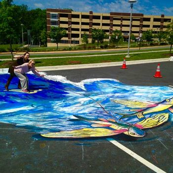 parking lot chalk drawing