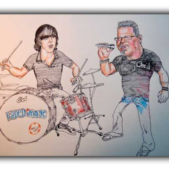 rock band caricature