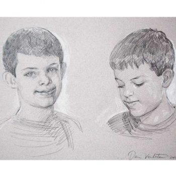 sketch of two boys
