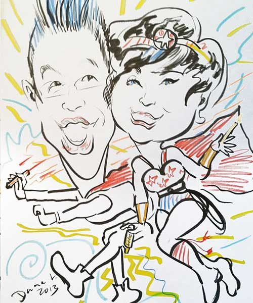 super couple caricature