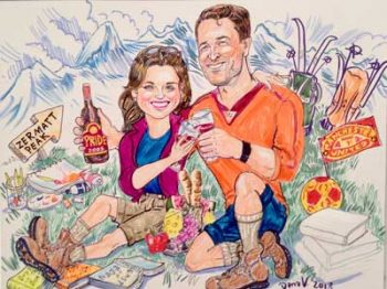 happy couple traveling sketch