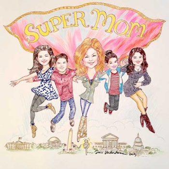 super Mom caricature