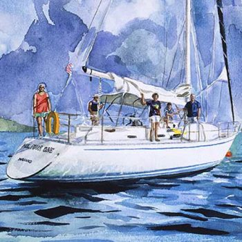 sketch of family sailing